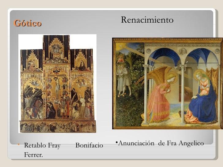 Gótico                          Renacimiento•   Retablo Fray   Bonifacio   •Anunciación de Fra Angelico    Ferrer.
