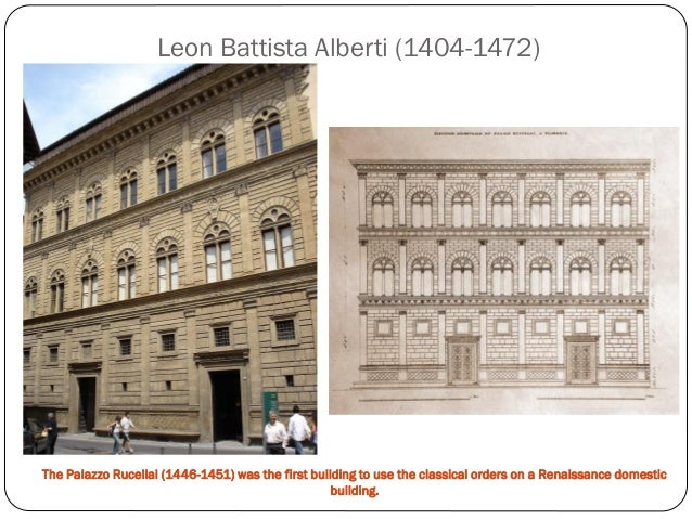 an analysis of the palazzo rucelai one of the first works by leon battista alberti To single out one of leon battista's 'fields' over others as works of leon battista alberti given name leone battista alberti.