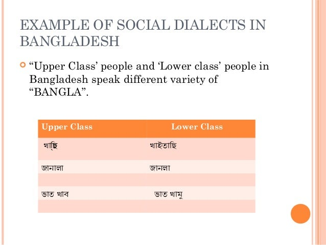 regional social dialects Start studying linguistics: sociolinguistics & social dialects (chapter 19) learn vocabulary, terms, and more with flashcards, games, and other study tools.