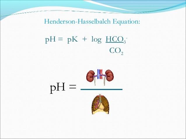 CO2 + H2O H2CO3 HCO3 - + H+ HCO3 - Cl- HCO3 - Na+ Na+ H+ ATPase H+ C.A. Blood Cell Lumen ATPase H+ K+ Renal Transport of H...