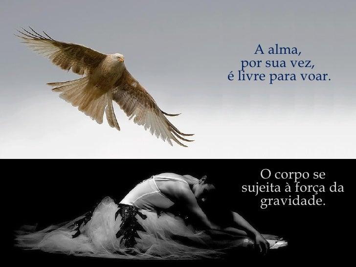 O corpo se sujeita à força da gravidade. A alma,  por sua vez,  é livre para voar. A alma,  por sua vez,  é livre para voar.