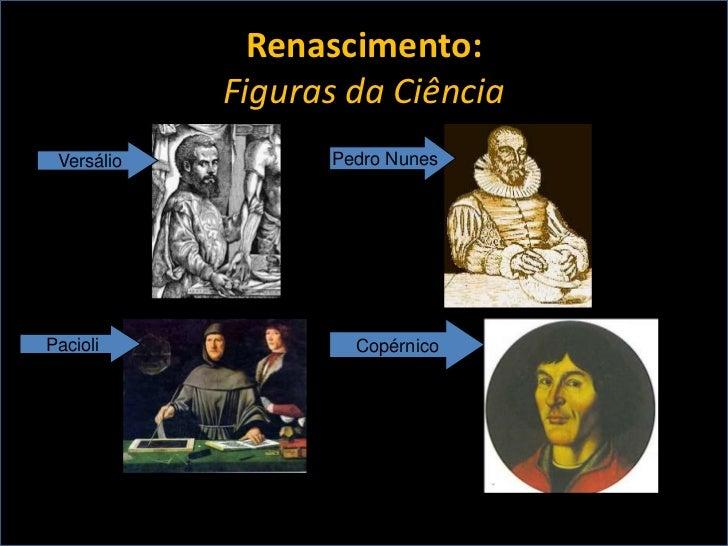 Renascimento:            Figuras da Ciência Versálio         Pedro NunesPacioli             Copérnico