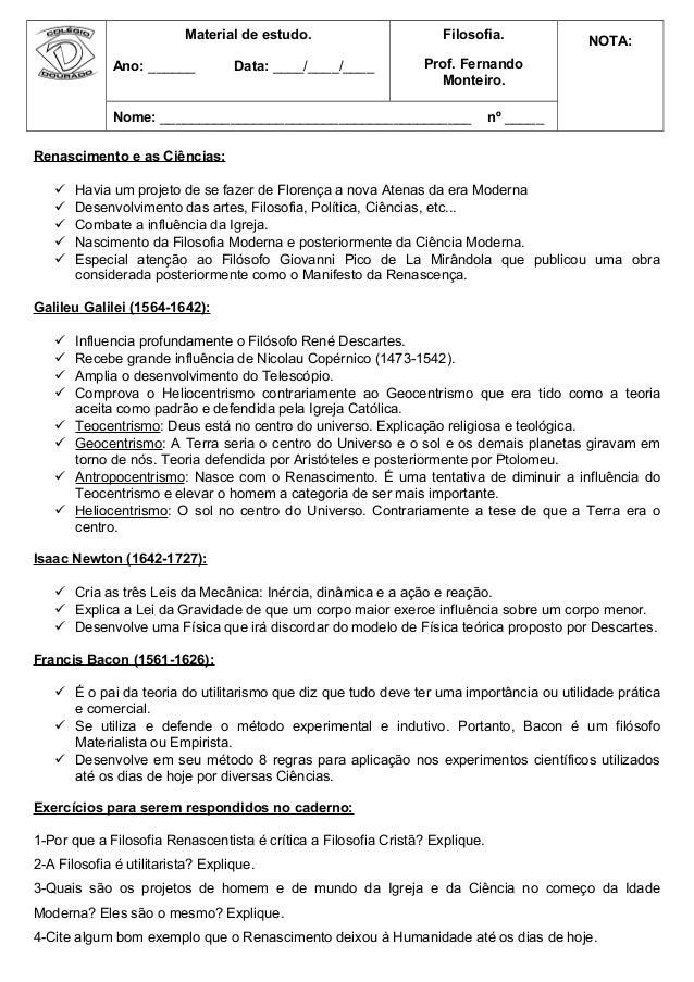 Material de estudo. Ano: ______ Data: ____/____/____ Filosofia. Prof. Fernando Monteiro. NOTA: Nome: _____________________...