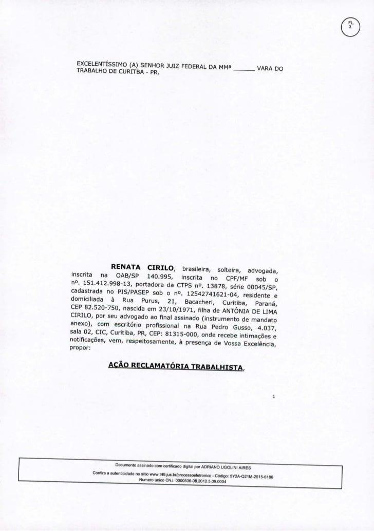 """EXCELENTÍSSIMO(A) SENHORJUIZ FEDERALDA MM""""                                                      VARA DO  TRABALHODE CURITB..."""