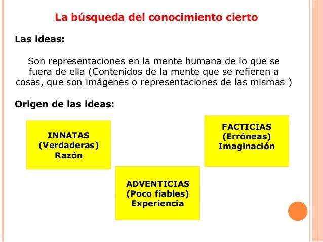 La búsqueda del conocimiento cierto Las ideas: Son representaciones en la mente humana de lo que se fuera de ella (Conteni...