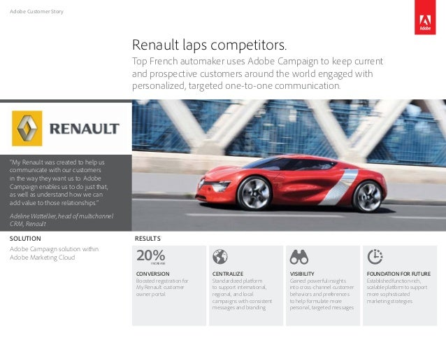 "Adobe Customer Story ""My Renault was created to help us communicate with our customers in the way they want us to. Adobe C..."