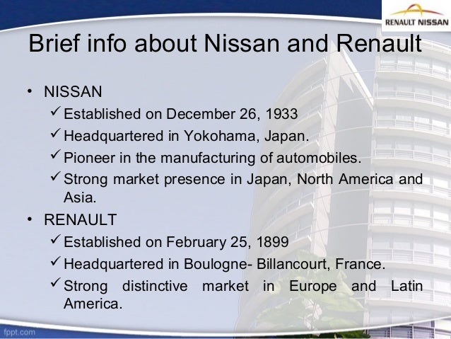 swot analysis of renault nissan alliance Nissan corporation sells its cars with the names of nissan, infiniti and dastun this company was founded in 1933 and since1999 nissan has alliance renault, which was a partnership between nissan and the french automobile manufacturer renault in 2013, renault had a voting authority of 434% in.