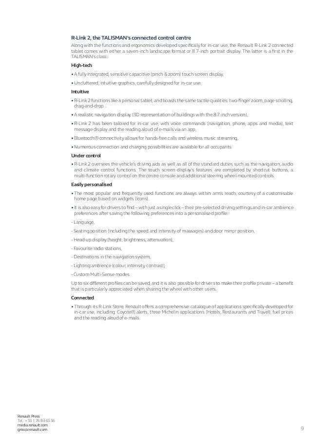 app press release template - 2016 renault talisman press release