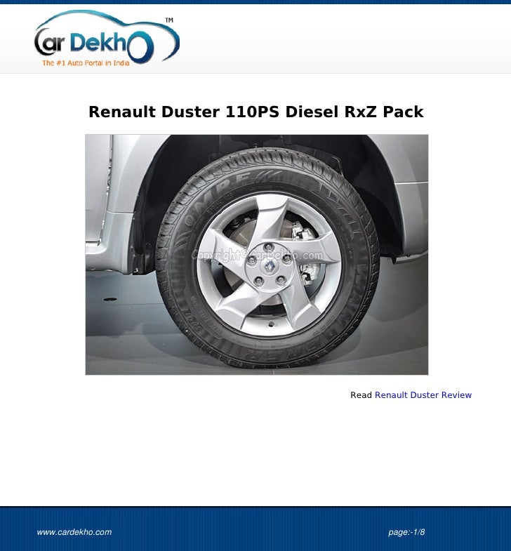 Renault Duster 110PS Diesel RxZ Pack                                       Read Renault Duster Reviewwww.cardekho.com     ...