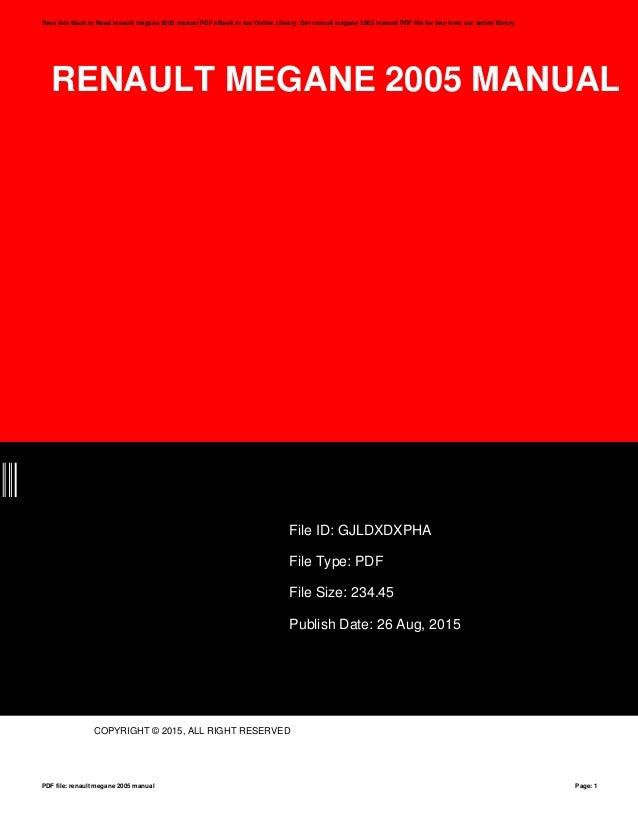 renault megane 2005 manual