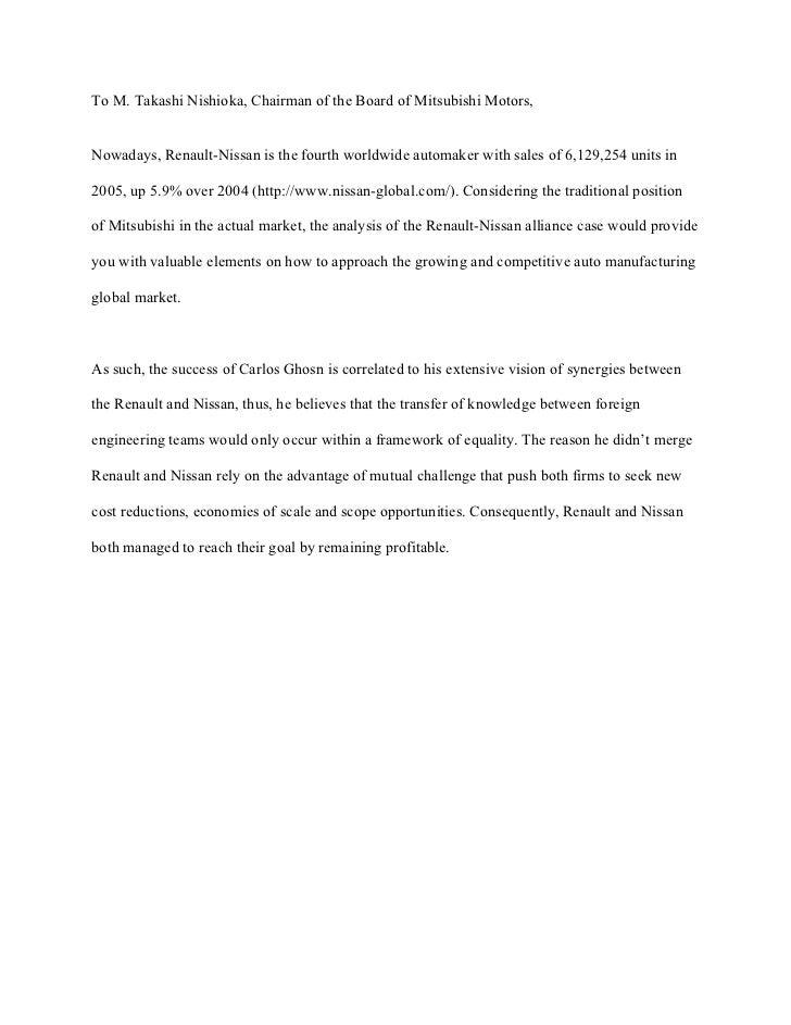 carlos ghosn nissan renault case analysis Cultural impacts on international strategic alliances analysis of renault-nissan case  carlos ghosn's reform plan « nissan revival plan .