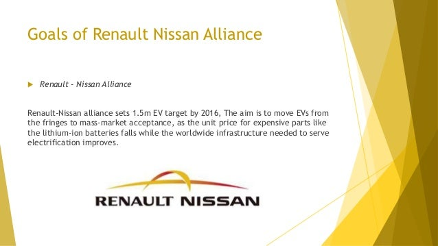 Goals of Renault Nissan Alliance  Renault - Nissan Alliance Renault-Nissan alliance sets 1.5m EV target by 2016, The aim ...