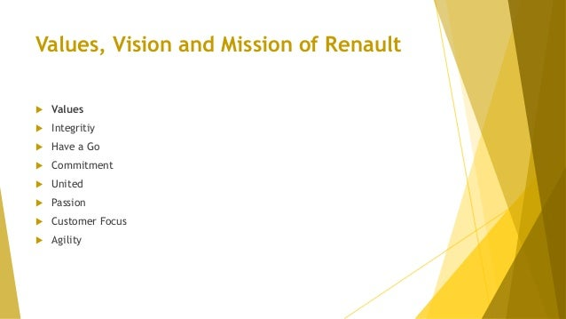 Values, Vision and Mission of Renault  Values  Integritiy  Have a Go  Commitment  United  Passion  Customer Focus ...