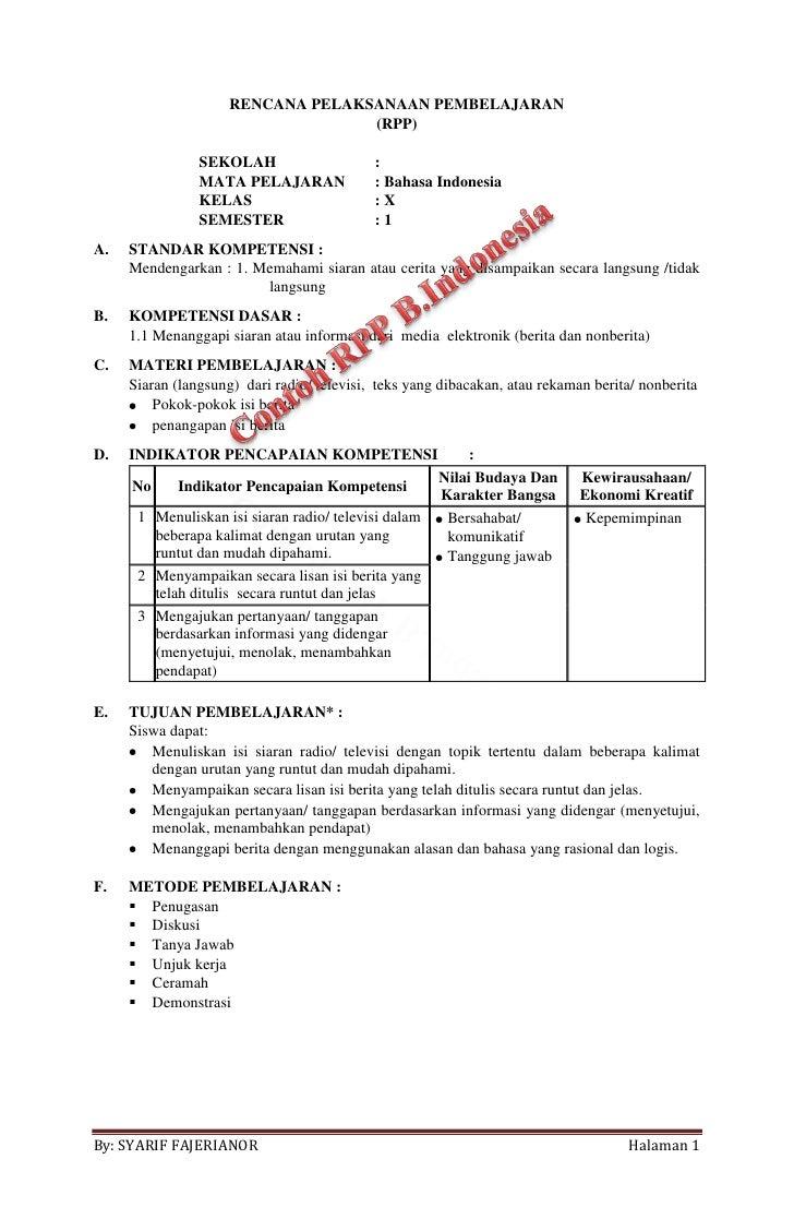 Contoh Rpp Bahasa Indonesia Fakta Dan Opini My Kaos