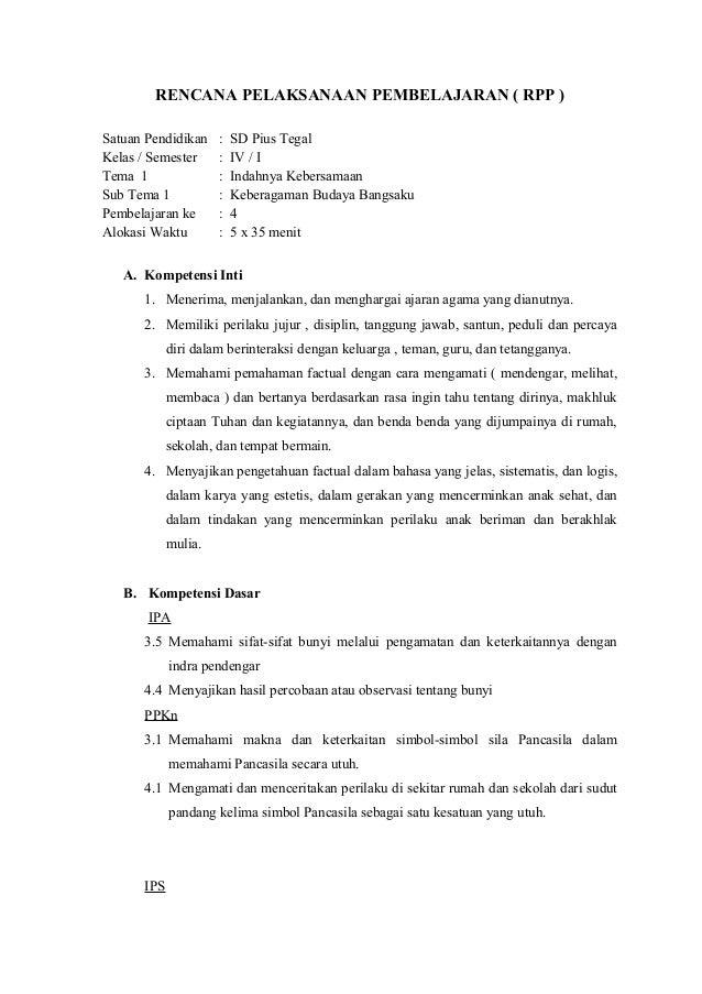Contoh Rencana Pelaksanaan Pembelajaran Ipa Kelas Iv