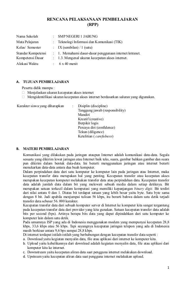 RENCANA PELAKSANAAN PEMBELAJARAN(RPP)Nama Sekolah : SMP NEGERI 1 JABUNGMata Pelajaran : Teknologi Informasi dan Komunikasi...