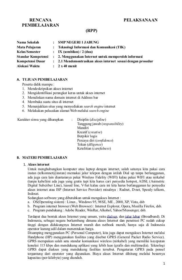 RENCANA PELAKSANAANPEMBELAJARAN(RPP)Nama Sekolah : SMP NEGERI 1 JABUNGMata Pelajaran : Teknologi Informasi dan Komunikasi ...