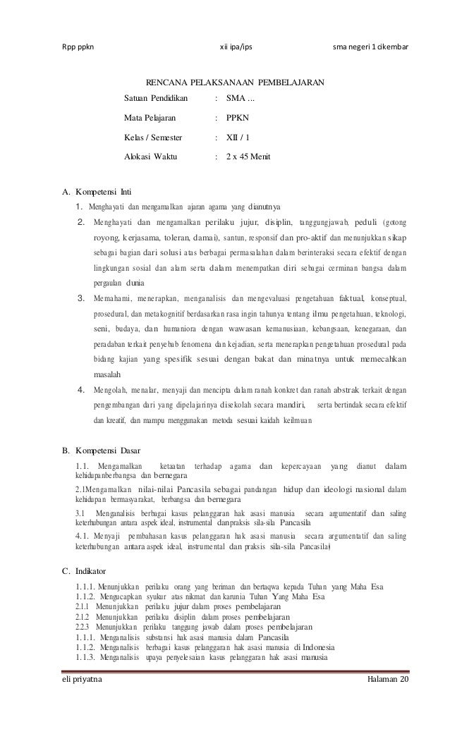 Rencana Pelaksanaan Pembelajaran Pkn Xii Kur 2013 Bab 1