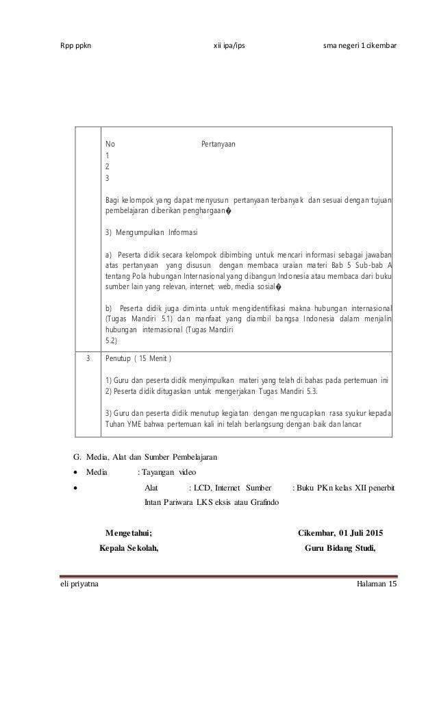 Rencana Pelaksanaan Pembelajaran Pkn Xii Kur 2013 Bab 5
