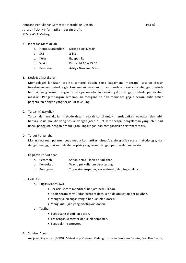 Rencana Perkuliahan Semester Metodologi Desain                                         (v.1.0)Jurusan Teknik Informatika –...