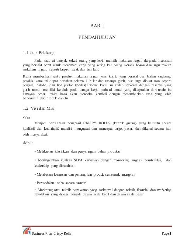 Rencana Usaha Crispy Rolls