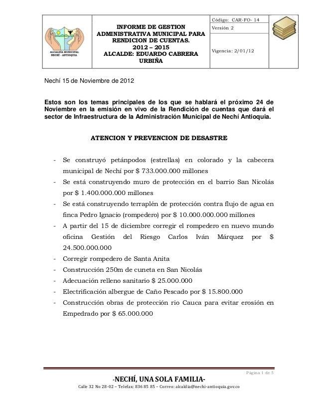 Código: CAR-FO- 14                          INFORME DE GESTION                                  Versión 2                 ...
