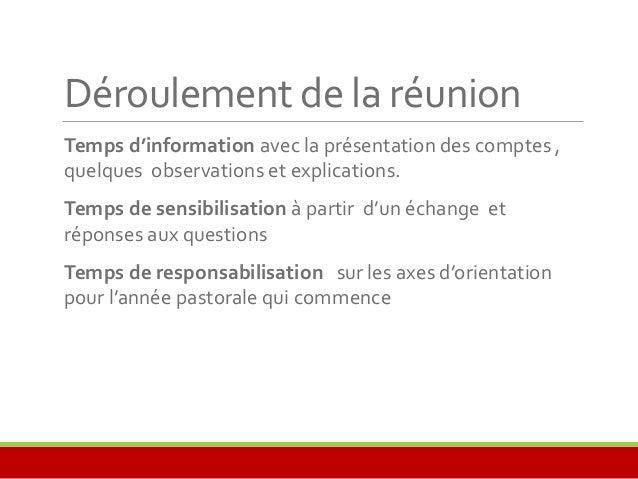 Déroulement de la réunion  Temps d'information avec la présentation des comptes ,  quelques observations et explications. ...