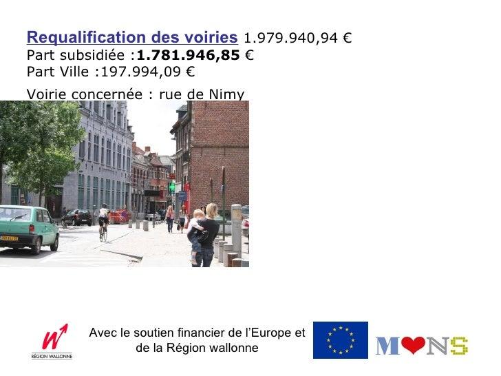 Requalification des voiries 1.979.940,94 €Part subsidiée :1.781.946,85 €Part Ville :197.994,09 €Voirie concernée : rue de ...