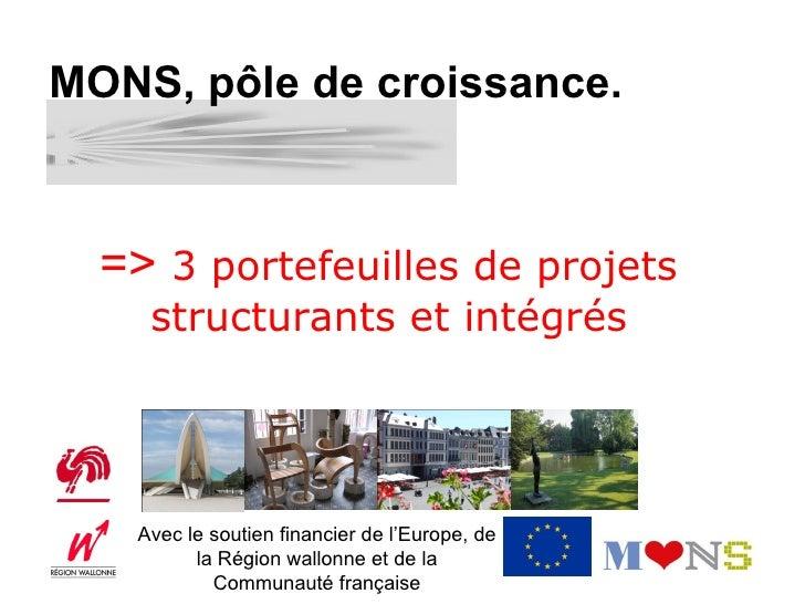 MONS, pôle de croissance.  => 3 portefeuilles de projets    structurants et intégrés   Avec le soutien financier de l'Euro...