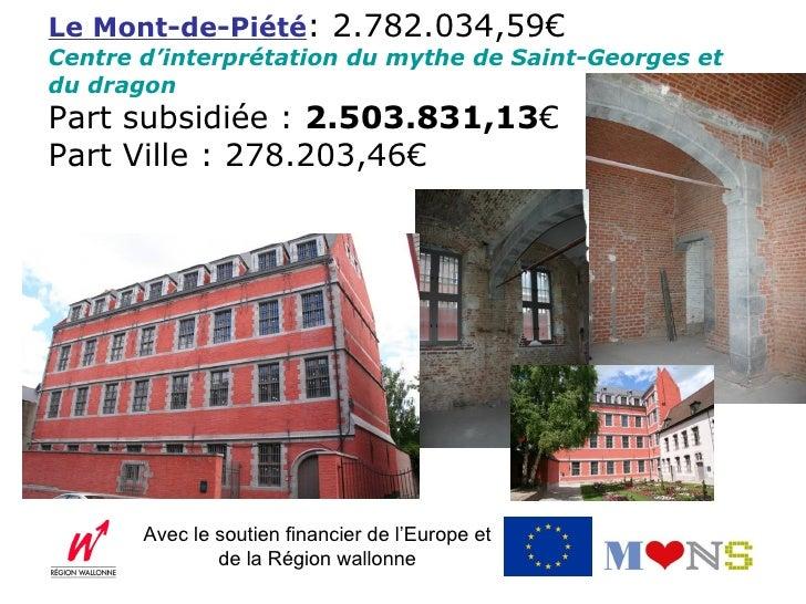 Le Mont-de-Piété: 2.782.034,59€Centre d'interprétation du mythe de Saint-Georges etdu dragonPart subsidiée : 2.503.831,13€...