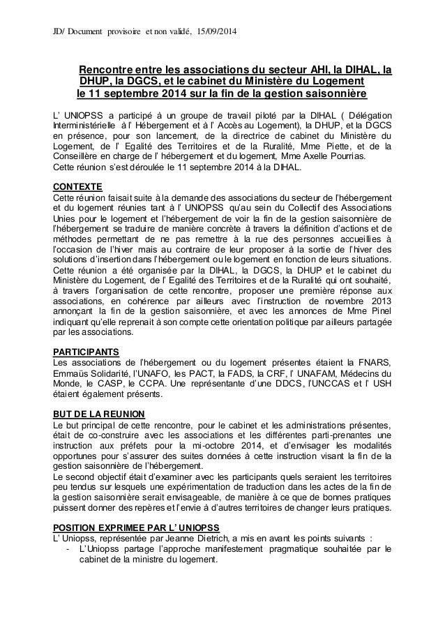JD/ Document provisoire et non validé, 15/09/2014 Rencontre entre les associations du secteur AHI, la DIHAL, la DHUP, la D...