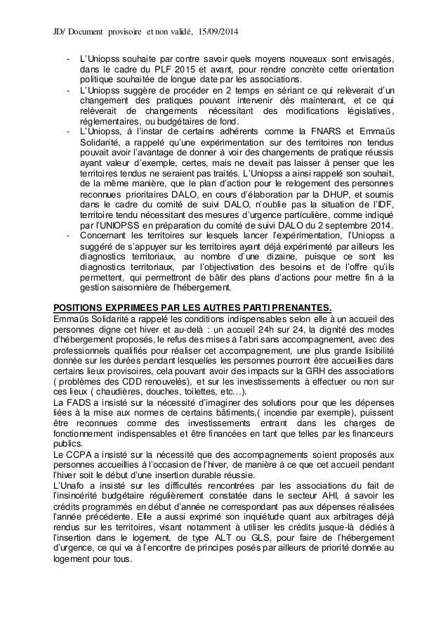 JD/ Document provisoire et non validé, 15/09/2014 - L'Uniopss souhaite par contre savoir quels moyens nouveaux sont envisa...
