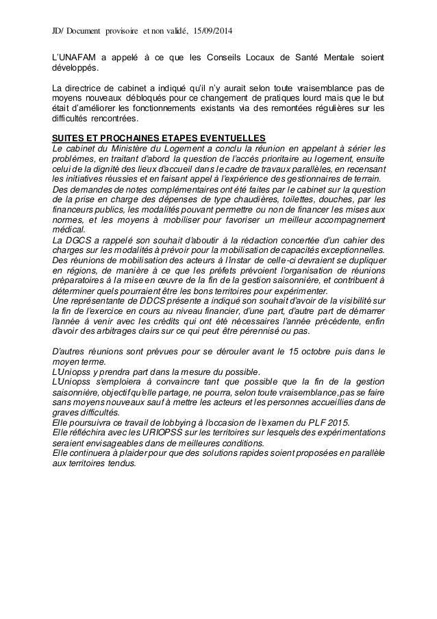JD/ Document provisoire et non validé, 15/09/2014 L'UNAFAM a appelé à ce que les Conseils Locaux de Santé Mentale soient d...