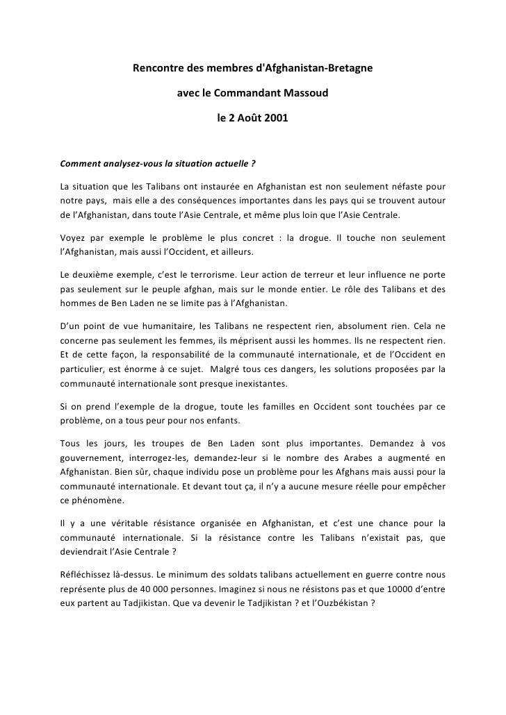 Rencontre des membres dAfghanistan-Bretagne                           avec le Commandant Massoud                          ...