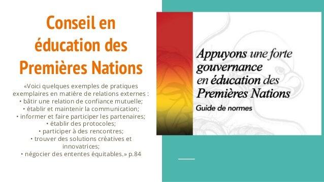 Conseil en éducation des Premières Nations «Voici quelques exemples de pratiques exemplaires en matière de relations exter...