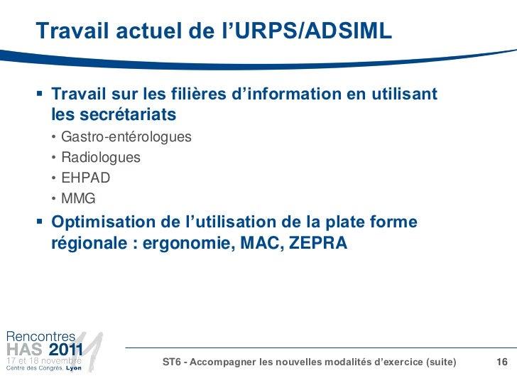 Travail actuel de l'URPS/ADSIML Travail sur les filières d'information en utilisant  les secrétariats  •   Gastro-entérol...
