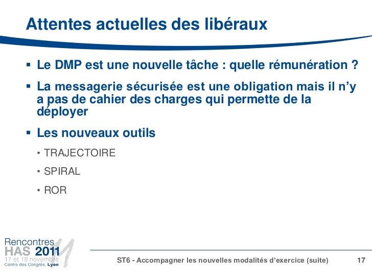 Attentes actuelles des libéraux Le DMP est une nouvelle tâche : quelle rémunération ? La messagerie sécurisée est une ob...