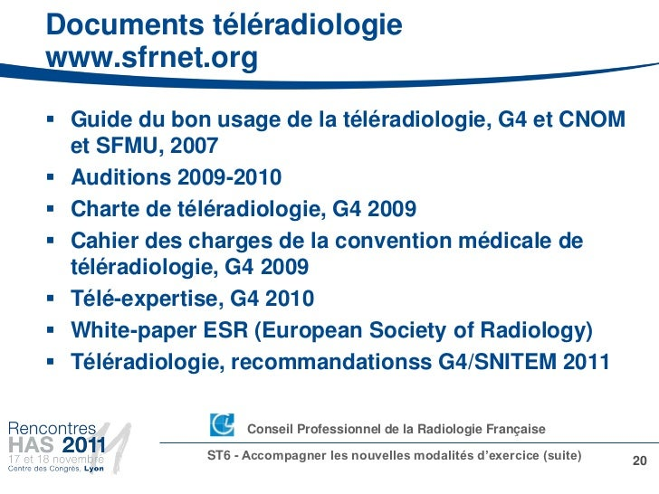 Documents téléradiologiewww.sfrnet.org Guide du bon usage de la téléradiologie, G4 et CNOM  et SFMU, 2007 Auditions 2009...