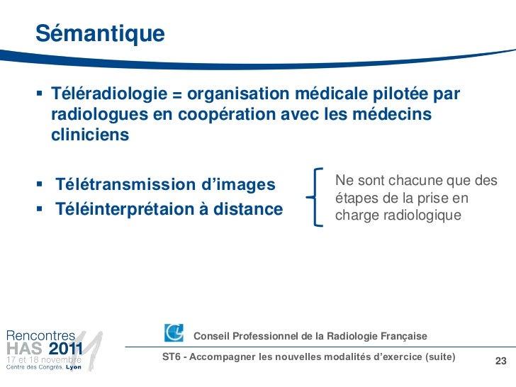 Sémantique Téléradiologie = organisation médicale pilotée par  radiologues en coopération avec les médecins  cliniciens ...