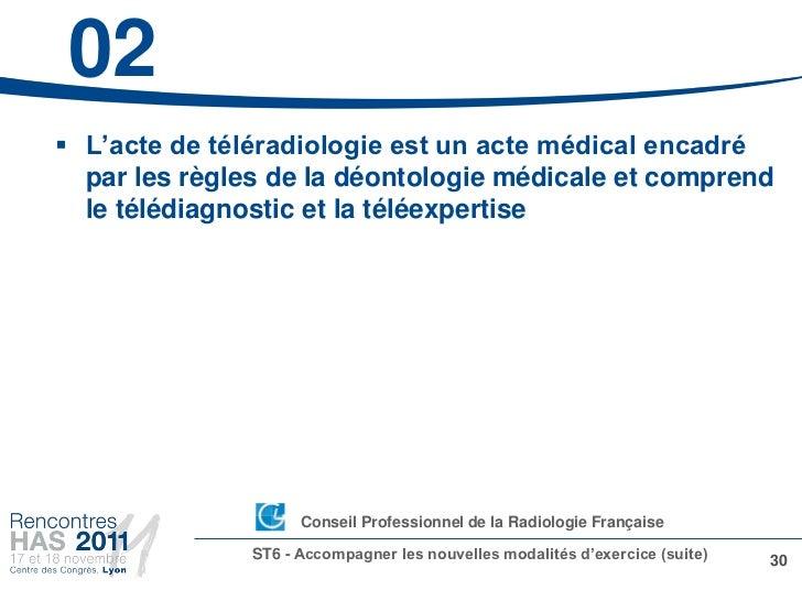 02 L'acte de téléradiologie est un acte médical encadré  par les règles de la déontologie médicale et comprend  le télédi...