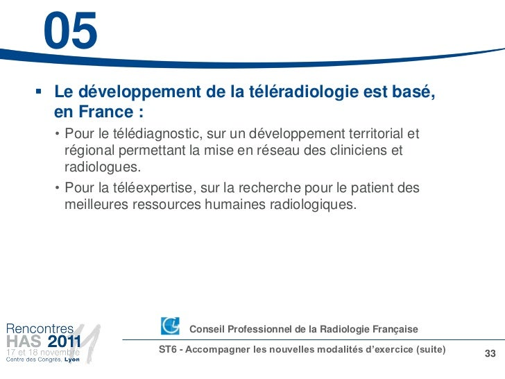 05 Le développement de la téléradiologie est basé,  en France :  • Pour le télédiagnostic, sur un développement territori...