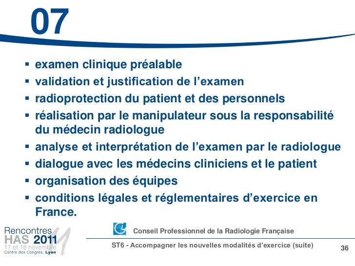 07   examen clinique préalable   validation et justification de l'examen   radioprotection du patient et des personnels...