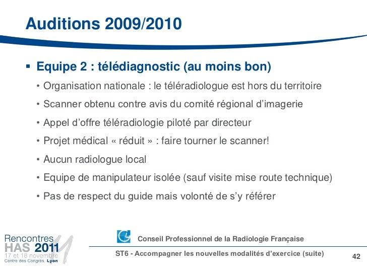 Auditions 2009/2010 Equipe 2 : télédiagnostic (au moins bon) • Organisation nationale : le téléradiologue est hors du ter...