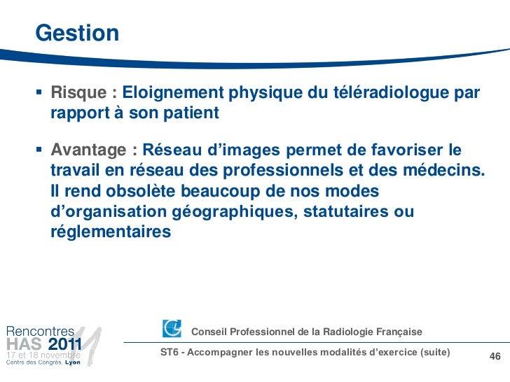 Gestion Risque : Eloignement physique du téléradiologue par  rapport à son patient Avantage : Réseau d'images permet de ...