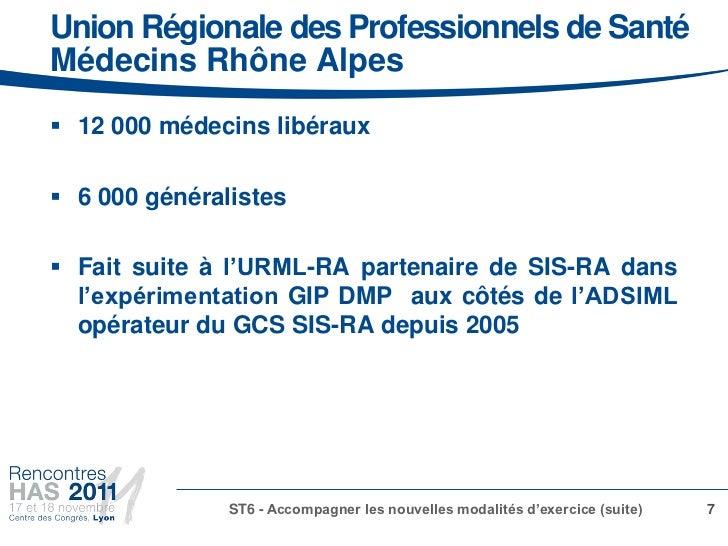 Union Régionale des Professionnels de SantéMédecins Rhône Alpes 12 000 médecins libéraux 6 000 généralistes Fait suite ...