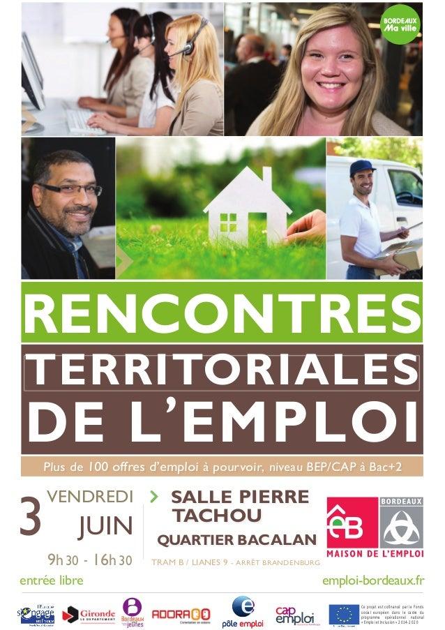 Salle PIERRE TACHOU QUARTIER BACALAN TERRITORIALESTERRITORIALES DE L'EMPLOI RENCONTRES Plus de 100 offres d'emploi à pourv...