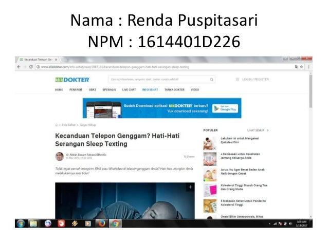 Nama : Renda Puspitasari NPM : 1614401D226