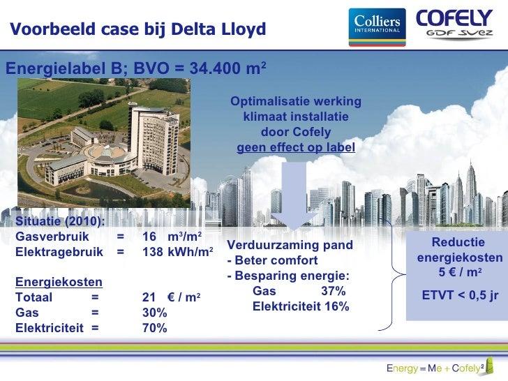 Voorbeeld case bij Delta Lloyd Situatie (2010):  Gasverbruik  =  16  m 3 /m 2 Elektragebruik  =  138  kWh/m 2 Energiekoste...