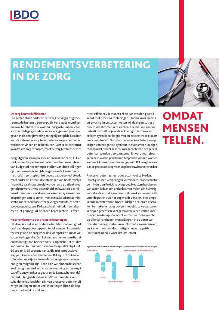 RENDEMENTSVERBETERING IN DE ZORGDe zorg kan veel efficiënter                                    Meer efficiency is essentiee...