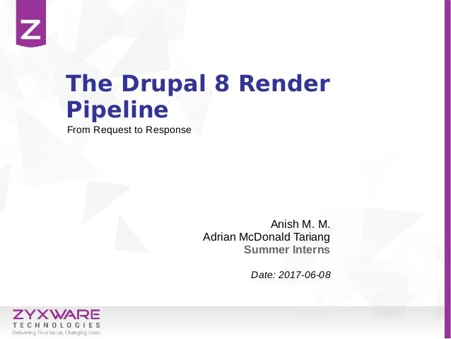 The Drupal 8 Render Pipeline Anish M. M. Adrian McDonald Tariang Summer Interns Date: 2017-06-08 From Request to Response